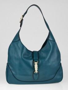 Gucci Teal Leather New Jackie Medium Hobo Bag