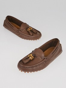 Gucci Brown Pebbled Leather Bamboo Tassels Driving Loafers Size 5.5/36