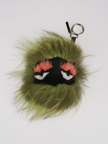 Fendi Green Fox Fur and Leather Cube 'Kooky' Bug Bag Key Chain and Bag Charm