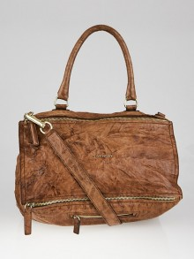 Givenchy Brown Wrinkled Sheepskin Leather Large Pandora Bag