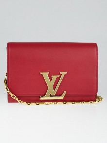 Louis Vuitton Framboise Calfskin Leather Chain Louise MM Bag