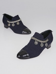 Chanel Navy Blue Tweed Cap Toe Charm Loafers Size 6.5/37