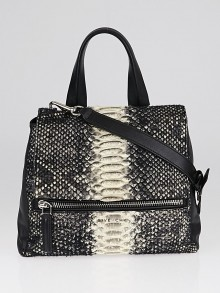 Givenchy Black Python and Wool Small Pandora Pure Bag