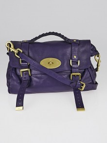 Mulberry Purple Polished Buffalo Leather Alexa Satchel Bag