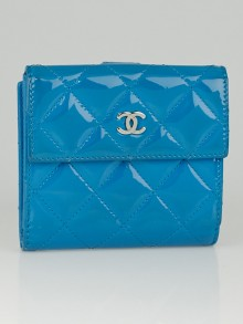 Chanel Blue Patent Leather CC Compact Wallet