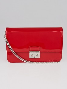 Christian Dior Red Patent Leather Small Miss Dior Pouch Bag
