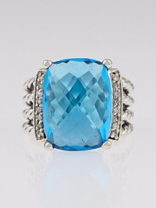 David Yurman 16x12mm Blue Topaz and Diamond Wheaton Ring Size 6