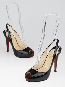 Christian Louboutin Black Patent Leather No Prive 120 Slingback Heels Size 4.5/35