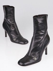 Chanel Black Lambskin Leather Short Boots Size 8.5/39