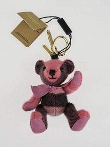 Burberry Rose Pink Check Cashmere Thomas Bear Charm