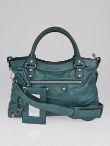 Balenciaga Vert Menthe Lambskin Leather Giant 12 Silver Motorcycle Town Bag