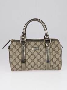 Gucci Beige/Pewter GG Coated Canvas Small Joy Boston Bag