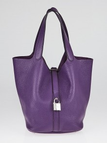Hermes 26cm Violet Clemence Leather Picotin Lock GM Bag