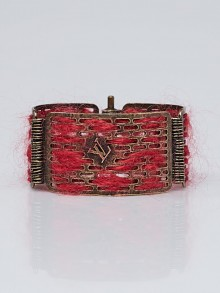 Louis Vuitton Antique Goldtone Tribal Hinge Cuff Bracelet