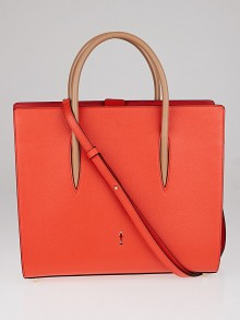 Christian Louboutin Red Pebbled Leather Paloma Medium Triple-Gusset Tote Bag
