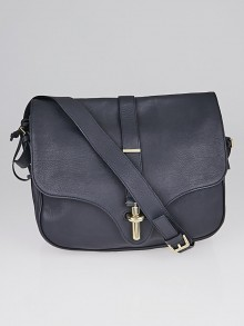 Balenciaga Navy Blue Leather Flap Top Tube S Crossbody Bag