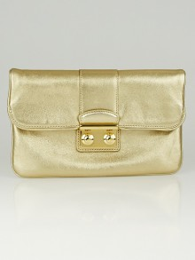 Louis Vuitton Gold Lambskin Leather Sofia Coppola Slim Clutch Bag