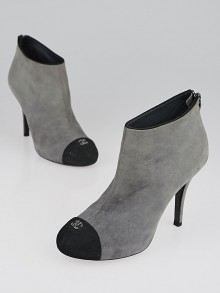 Chanel Grey/Black Suede Cap Toe CC Ankle Boots Size 7.5/38
