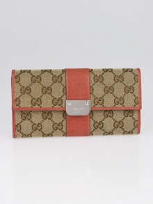 Gucci Beige/Pink GG Canvas Continental Long Wallet