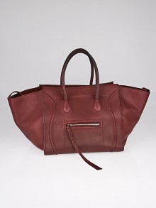Celine Dark Red Calfskin Leather Phantom Luggage Tote Bag
