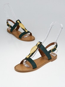 Valentino Green Leather Scarab T-Strap Sandals Size 7.5/38