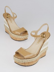 Prada Nude Patent Leather and Cork Espadrille Wedges Size 7/37.5