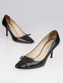 Prada Black Patent Leather Bow Pumps Size 6.5/37
