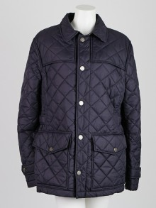 Burberry London Navy Blue Polyester Quilted Jacket Size L