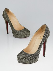 Christian Louboutin Black/Natural Juta Fabric Bianca 140 Pumps Size 7.5/38