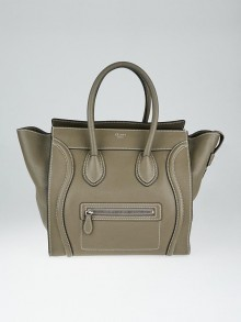 Celine Grey Drummed Calfskin Leather Mini Luggage Tote Bag