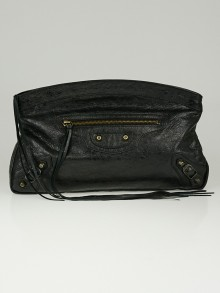 Balenciaga Black Lambskin Leather Premier Clutch Bag