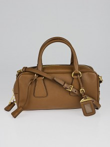 Prada Brown Saffiano Leather Top Handle Bauletto Bag