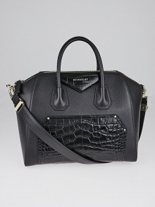Givenchy Black Goatskin Leather and Crocodile Stamp Leather Medium Antigona Bag