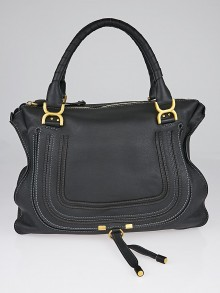 Chloe Black Pebbled Leather Large Marcie Satchel Bag