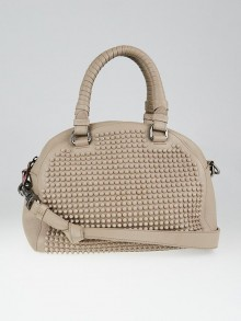Christian Louboutin Taupe Calfskin Leather Panettone Spikes Satchel Bag