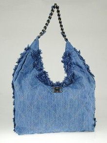 Chanel Light Blue Quilted Denim Chain Hobo Bag