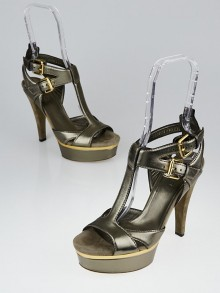 Gucci Bronze Leather and Suede Platform Open-Toe Sandals Size 6/36.5