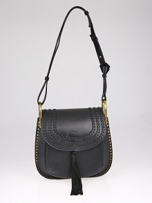 Chloe Black Braided Leather Medium Hudson Bag