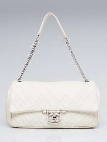 Chanel White Quilted Leather Icon Medium Flap Bag