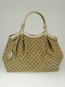 Gucci Beige/Gold GG Canvas Large Sukey Tote Bag