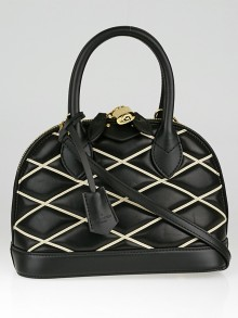 Louis Vuitton Black Lambskin Leather Malletage Alma BB Bag