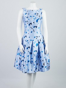 Oscar de la Renta Blue Floral Print Silk/Cotton Sleeveless Dress Size 4/38