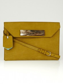 Balenciaga Brown Calfskin Nubuck Cable Flap Clutch