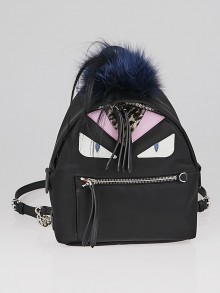 Fendi Black Nylon and Leather Monster Eyes Mini Backpack Bag 8BZ038