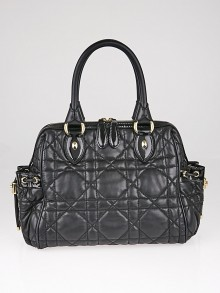 Christian Dior Black Cannage Quilted Leather Satchel Bag