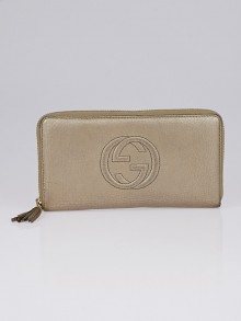 Gucci Gold Pebbled Leather Zippy Organizer Wallet