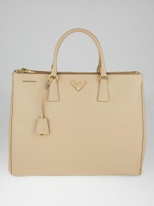 Prada Sabbia Saffiano Lux Leather Double Zip Executive Tote Bag BN1802