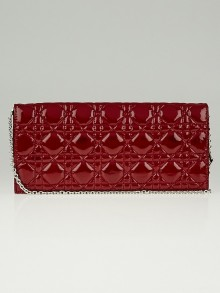Christian Dior Red Quilted Cannage Patent Leather Lady Dior Clutch Bag
