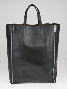 Celine Black Leather Vertical Gusset Zip Cabas Tote Bag