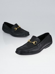 Gucci Black Leather Horsebit Loafers Size 6.5